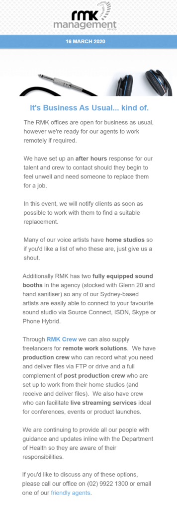 RMK Management - business usual remote freelancers and home studios