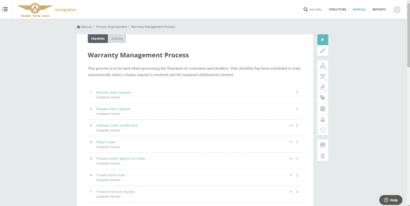Warranty Management Process Template